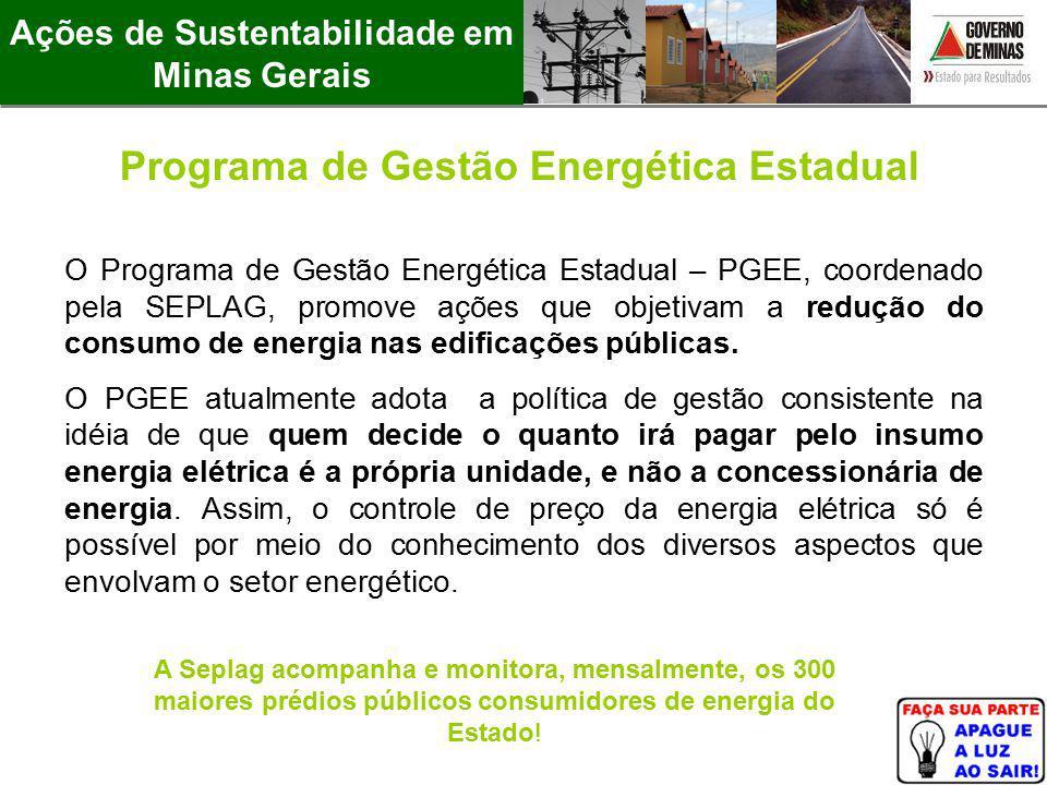 O Programa de Gestão Energética Estadual – PGEE, coordenado pela SEPLAG, promove ações que objetivam a redução do consumo de energia nas edificações p