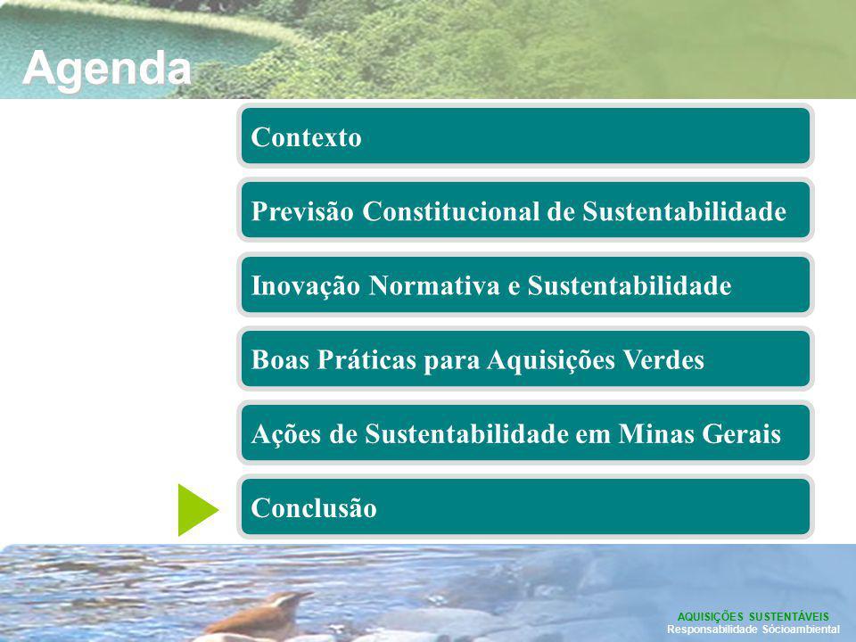 Agenda AQUISIÇÕES SUSTENTÁVEIS Responsabilidade Sócioambiental Contexto Conclusão Previsão Constitucional de Sustentabilidade Boas Práticas para Aquis