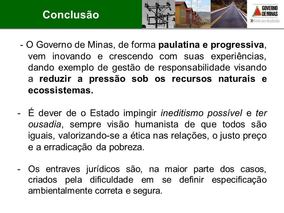 - O Governo de Minas, de forma paulatina e progressiva, vem inovando e crescendo com suas experiências, dando exemplo de gestão de responsabilidade vi