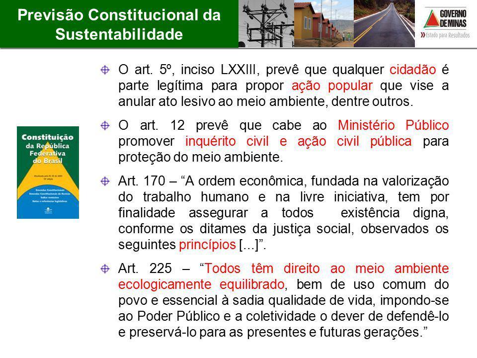 Previsão Constitucional da Sustentabilidade O art. 5º, inciso LXXIII, prevê que qualquer cidadão é parte legítima para propor ação popular que vise a