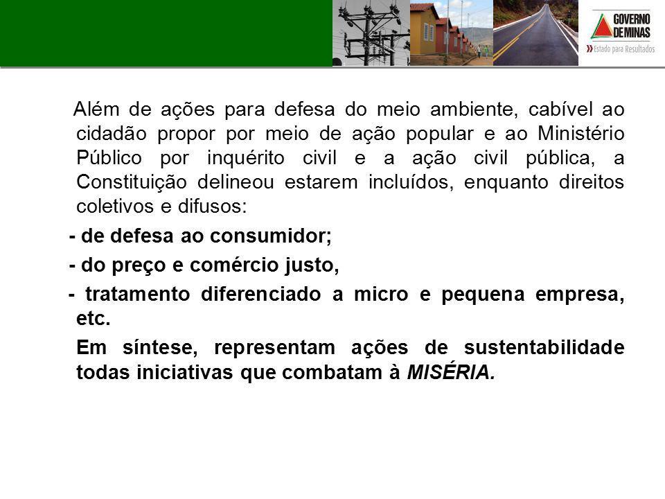 Além de ações para defesa do meio ambiente, cabível ao cidadão propor por meio de ação popular e ao Ministério Público por inquérito civil e a ação ci