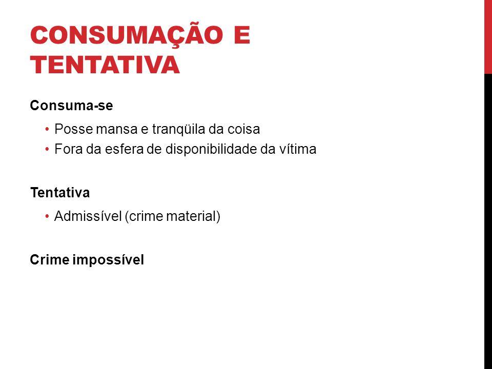 CONSUMAÇÃO E TENTATIVA Consuma-se Posse mansa e tranqüila da coisa Fora da esfera de disponibilidade da vítima Tentativa Admissível (crime material) C