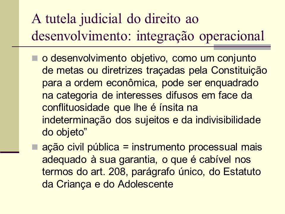 A tutela judicial do direito ao desenvolvimento: integração operacional o desenvolvimento objetivo, como um conjunto de metas ou diretrizes traçadas p