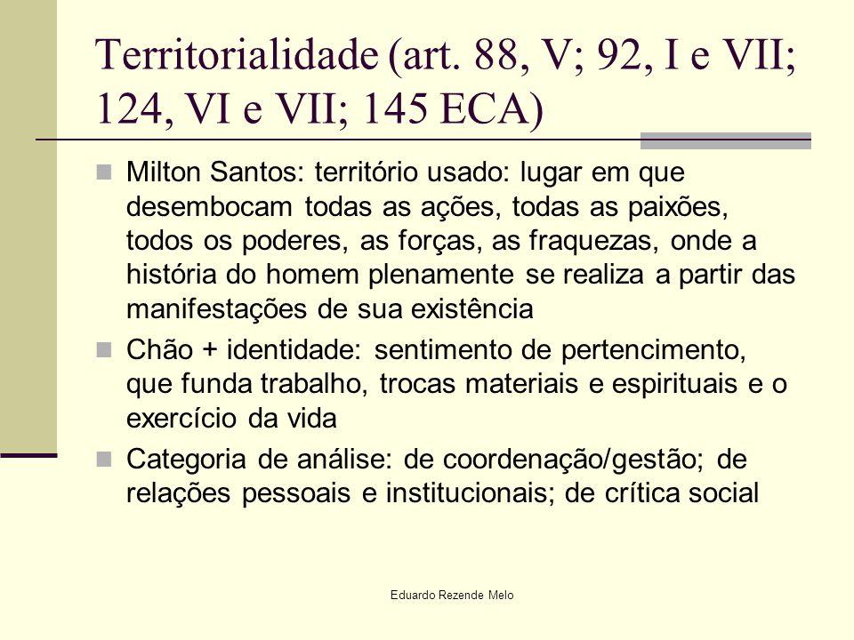 Eduardo Rezende Melo Territorialidade (art. 88, V; 92, I e VII; 124, VI e VII; 145 ECA) Milton Santos: território usado: lugar em que desembocam todas