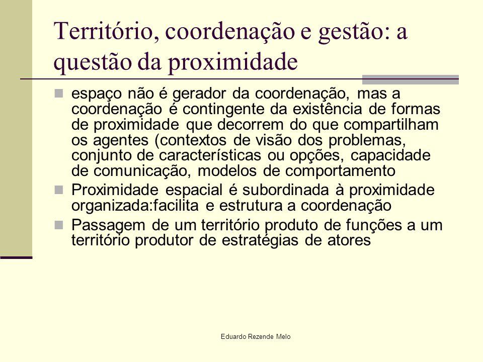Eduardo Rezende Melo Território, coordenação e gestão: a questão da proximidade espaço não é gerador da coordenação, mas a coordenação é contingente d