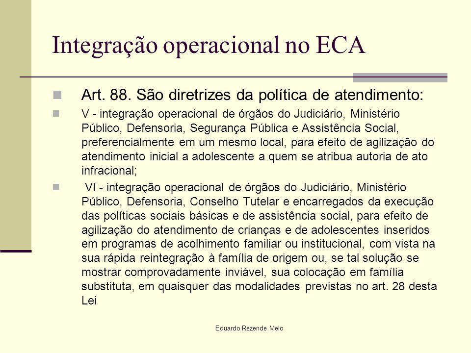 Eduardo Rezende Melo Integração operacional no ECA Art. 88. São diretrizes da política de atendimento: V - integração operacional de órgãos do Judiciá