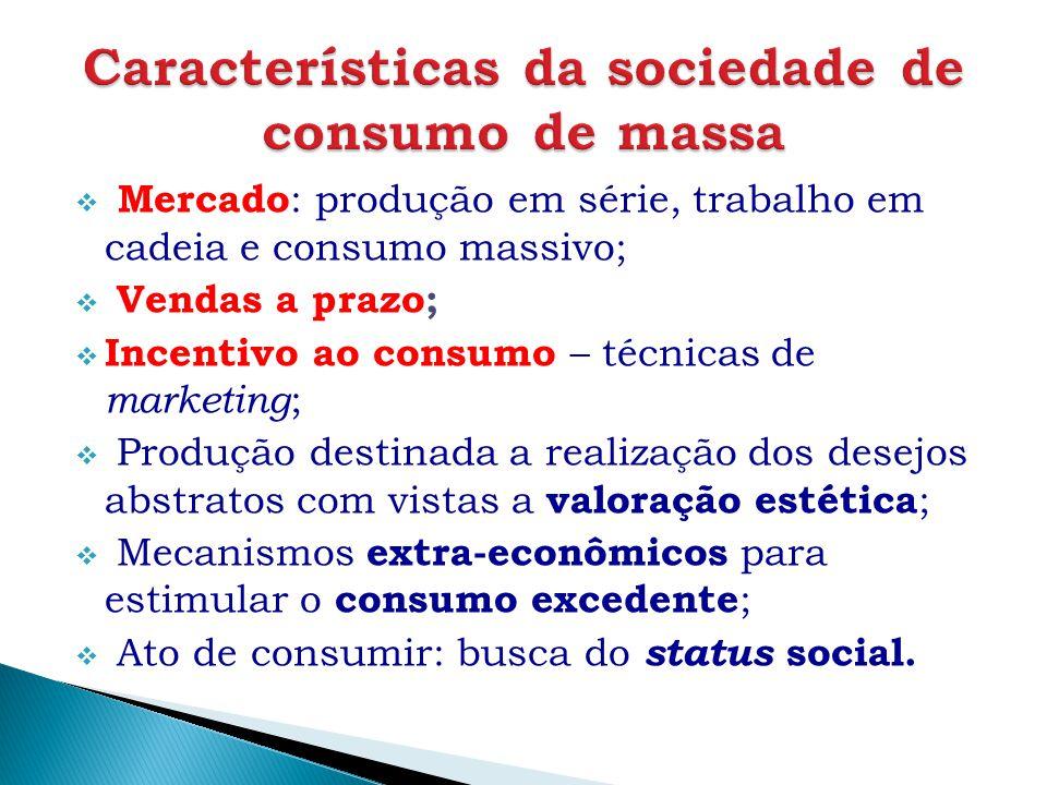  Mercado : produção em série, trabalho em cadeia e consumo massivo;  Vendas a prazo;  Incentivo ao consumo – técnicas de marketing ;  Produção des