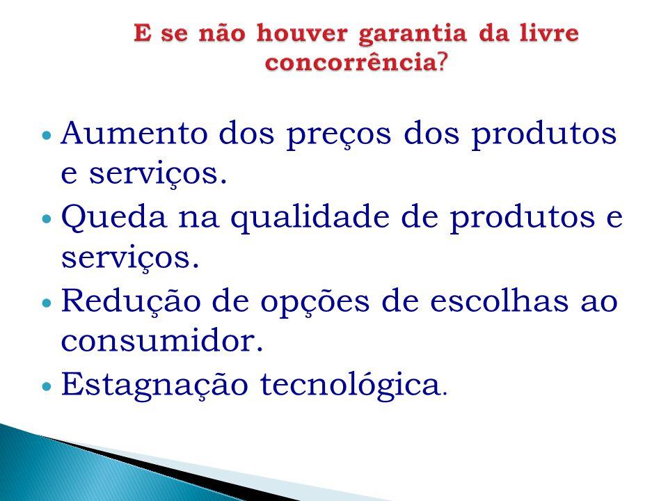 Aumento dos preços dos produtos e serviços. Queda na qualidade de produtos e serviços. Redução de opções de escolhas ao consumidor. Estagnação tecnoló