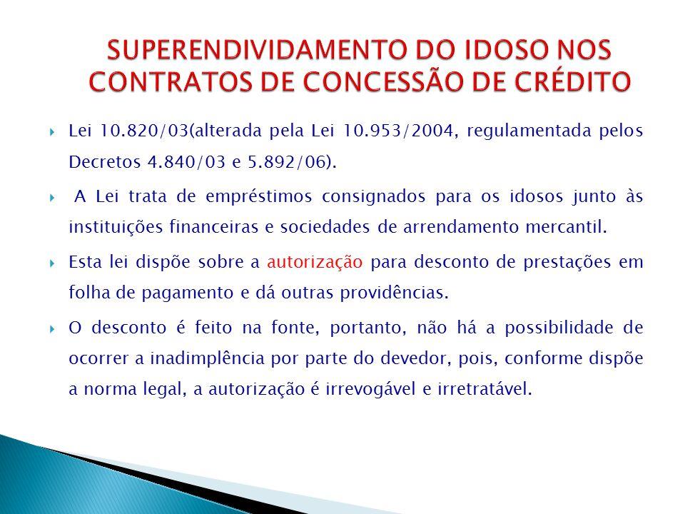  Lei 10.820/03(alterada pela Lei 10.953/2004, regulamentada pelos Decretos 4.840/03 e 5.892/06).  A Lei trata de empréstimos consignados para os ido