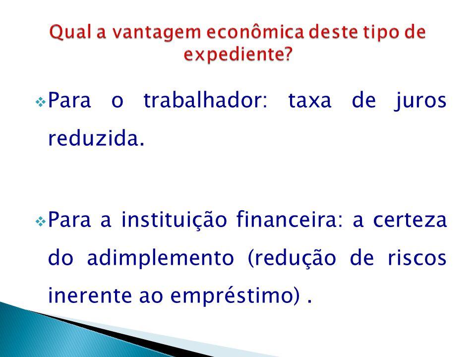  Para o trabalhador: taxa de juros reduzida.  Para a instituição financeira: a certeza do adimplemento (redução de riscos inerente ao empréstimo).