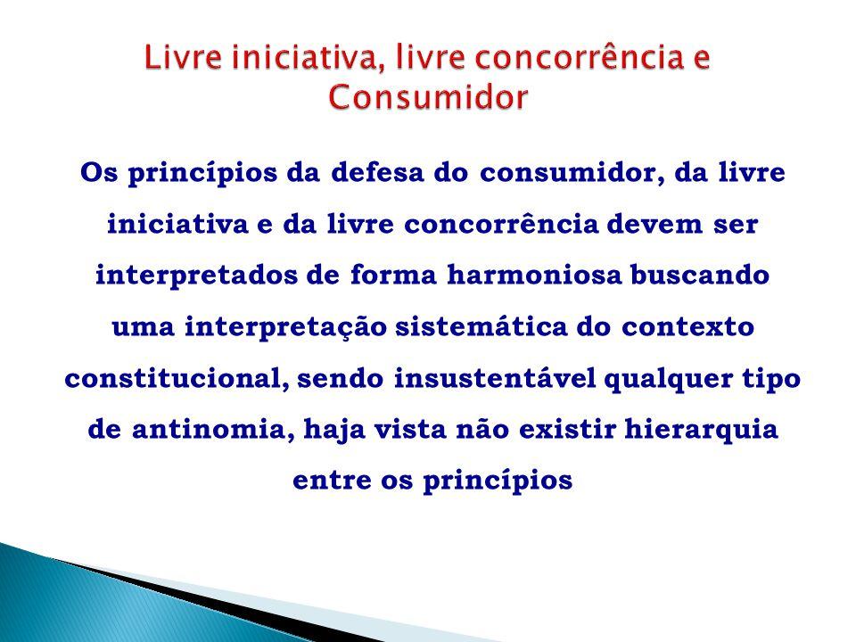 Os princípios da defesa do consumidor, da livre iniciativa e da livre concorrência devem ser interpretados de forma harmoniosa buscando uma interpreta