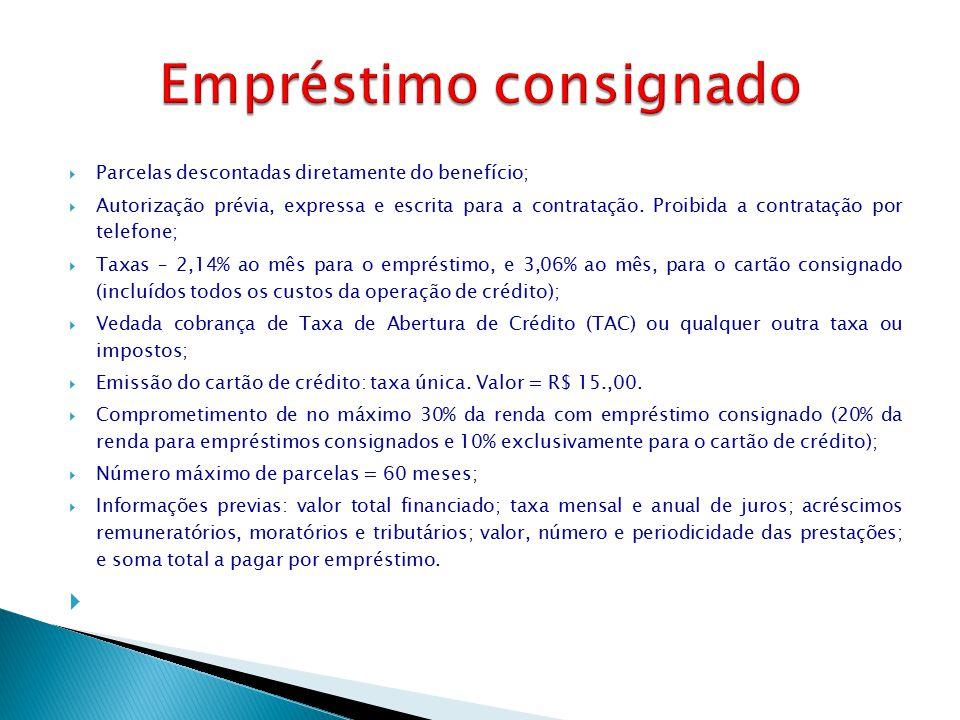  Parcelas descontadas diretamente do benefício;  Autorização prévia, expressa e escrita para a contratação. Proibida a contratação por telefone;  T
