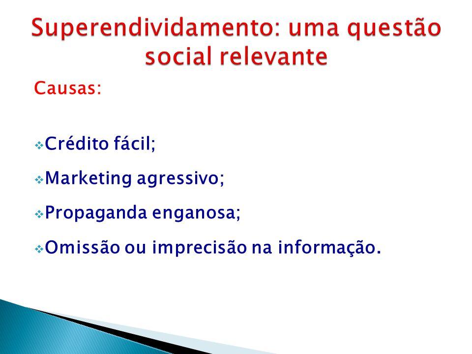 Causas:  Crédito fácil;  Marketing agressivo;  Propaganda enganosa;  Omissão ou imprecisão na informação.