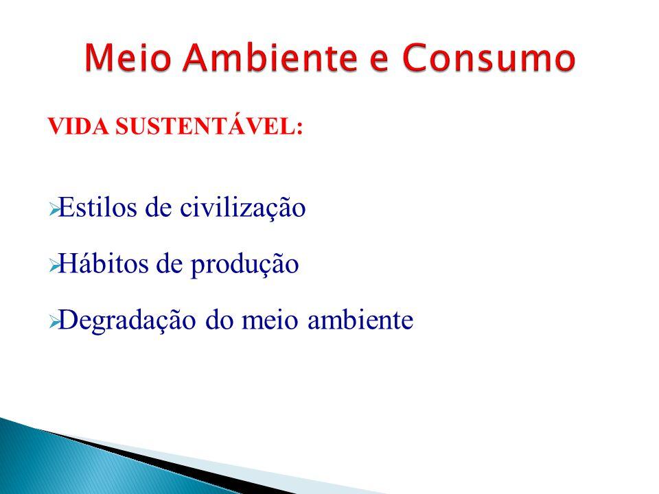 VIDA SUSTENTÁVEL:  Estilos de civilização  Hábitos de produção  Degradação do meio ambiente