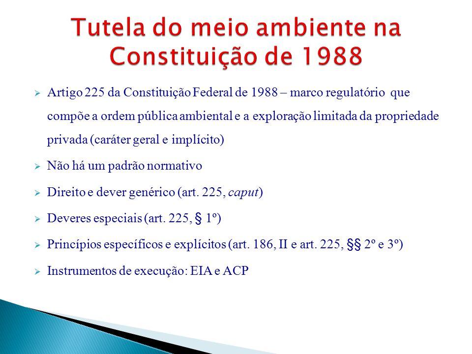  Artigo 225 da Constituição Federal de 1988 – marco regulatório que compõe a ordem pública ambiental e a exploração limitada da propriedade privada (