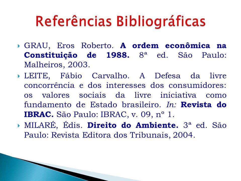  GRAU, Eros Roberto. A ordem econômica na Constituição de 1988. 8ª ed. São Paulo: Malheiros, 2003.  LEITE, Fábio Carvalho. A Defesa da livre concorr