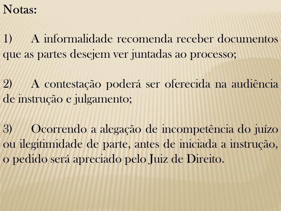 Notas: 1)A informalidade recomenda receber documentos que as partes desejem ver juntadas ao processo; 2)A contestação poderá ser oferecida na audiênci