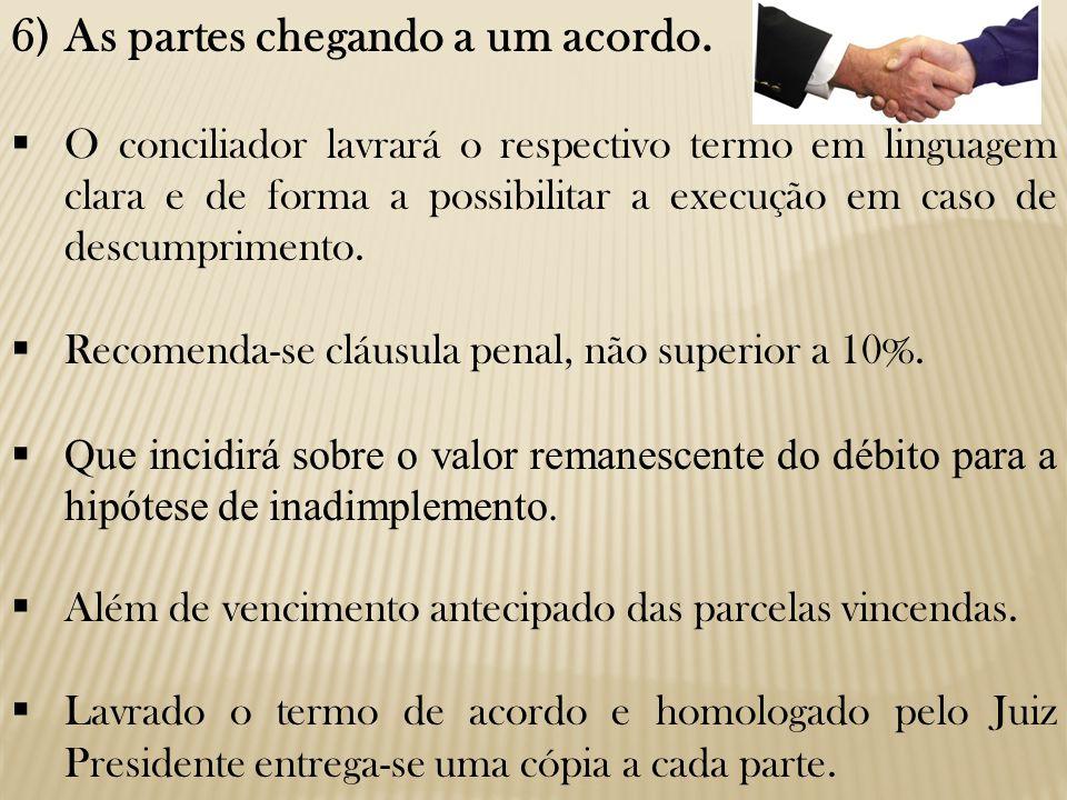 6)As partes chegando a um acordo.  O conciliador lavrará o respectivo termo em linguagem clara e de forma a possibilitar a execução em caso de descum