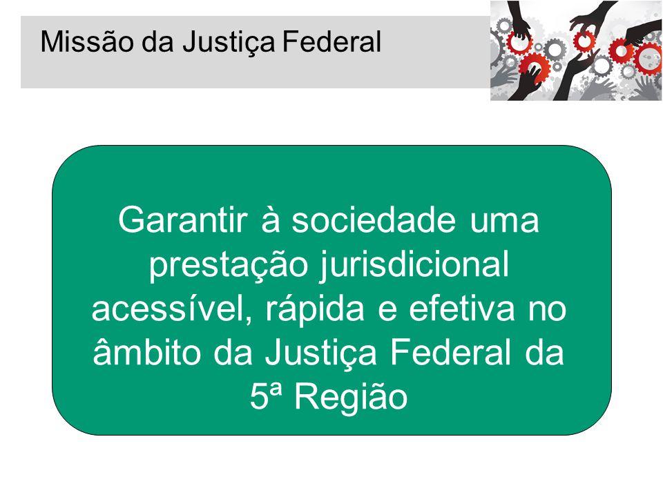 Missão da Justiça Federal Garantir à sociedade uma prestação jurisdicional acessível, rápida e efetiva no âmbito da Justiça Federal da 5ª Região