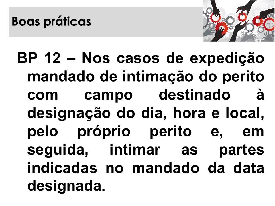 Boas práticas BP 12 – Nos casos de expedição mandado de intimação do perito com campo destinado à designação do dia, hora e local, pelo próprio perito