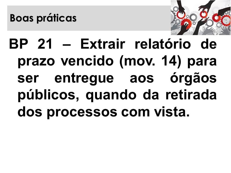 Boas práticas BP 21 – Extrair relatório de prazo vencido (mov. 14) para ser entregue aos órgãos públicos, quando da retirada dos processos com vista.