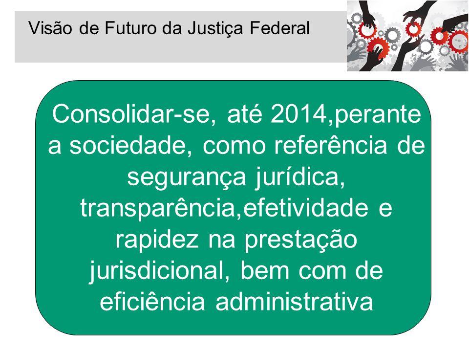 Visão de Futuro da Justiça Federal Consolidar-se, até 2014,perante a sociedade, como referência de segurança jurídica, transparência,efetividade e rap