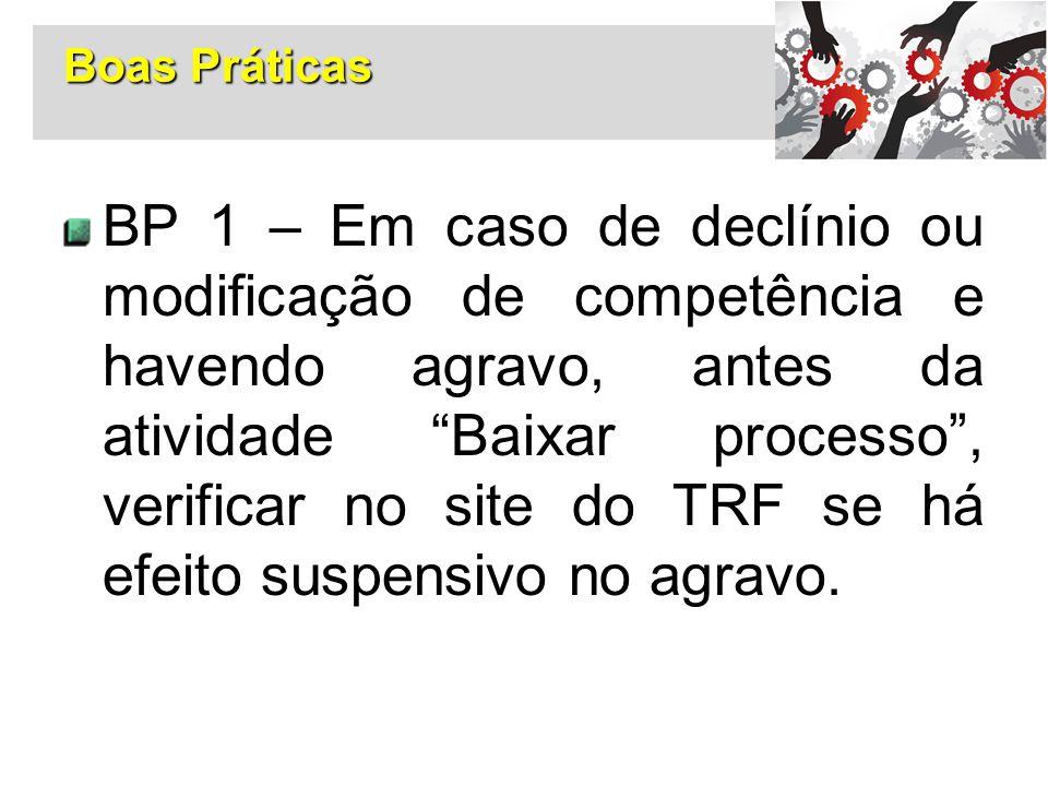 """Boas Práticas BP 1 – Em caso de declínio ou modificação de competência e havendo agravo, antes da atividade """"Baixar processo"""", verificar no site do TR"""