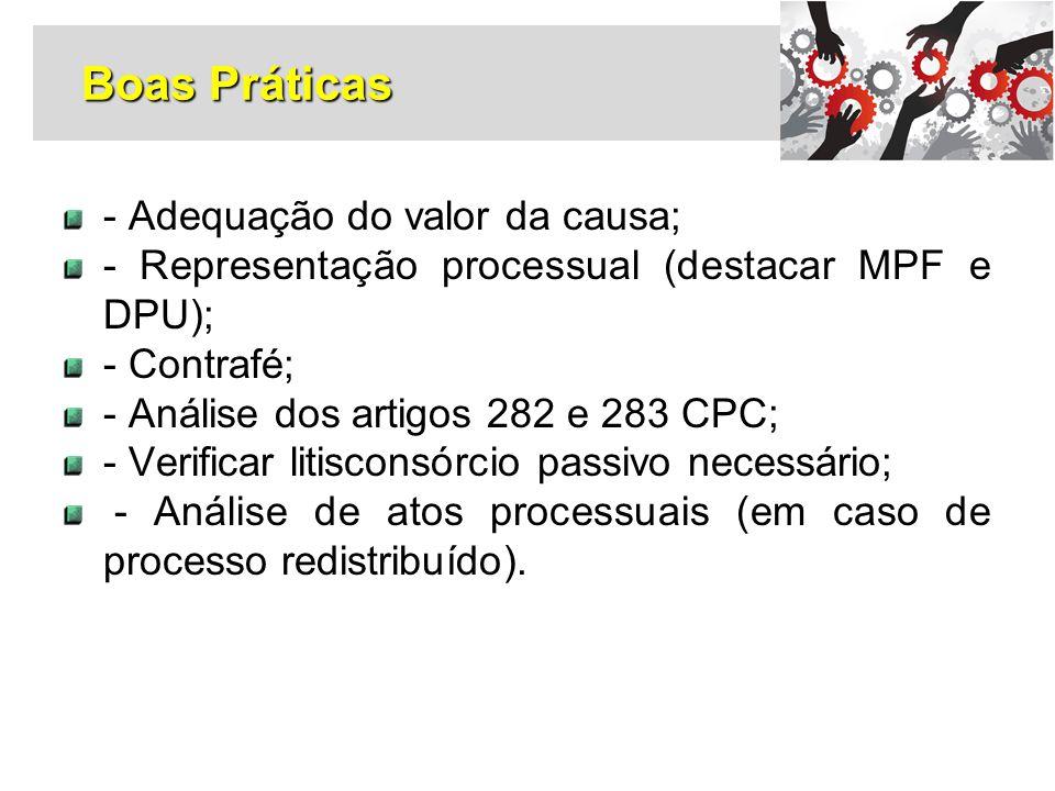 - Adequação do valor da causa; - Representação processual (destacar MPF e DPU); - Contrafé; - Análise dos artigos 282 e 283 CPC; - Verificar litiscons