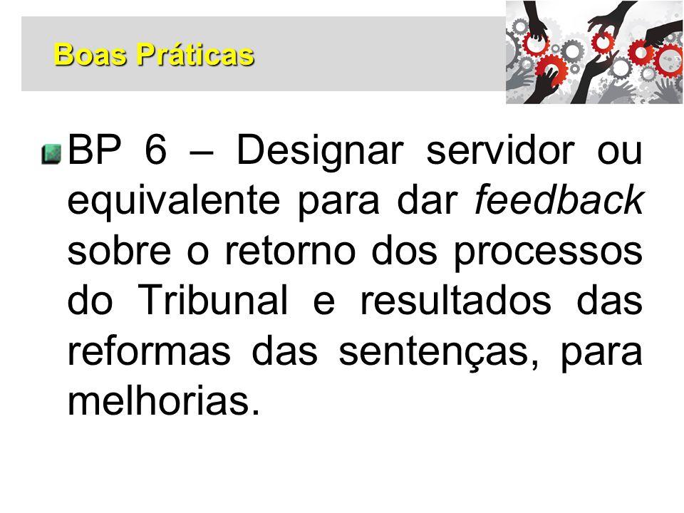 BP 6 – Designar servidor ou equivalente para dar feedback sobre o retorno dos processos do Tribunal e resultados das reformas das sentenças, para melh