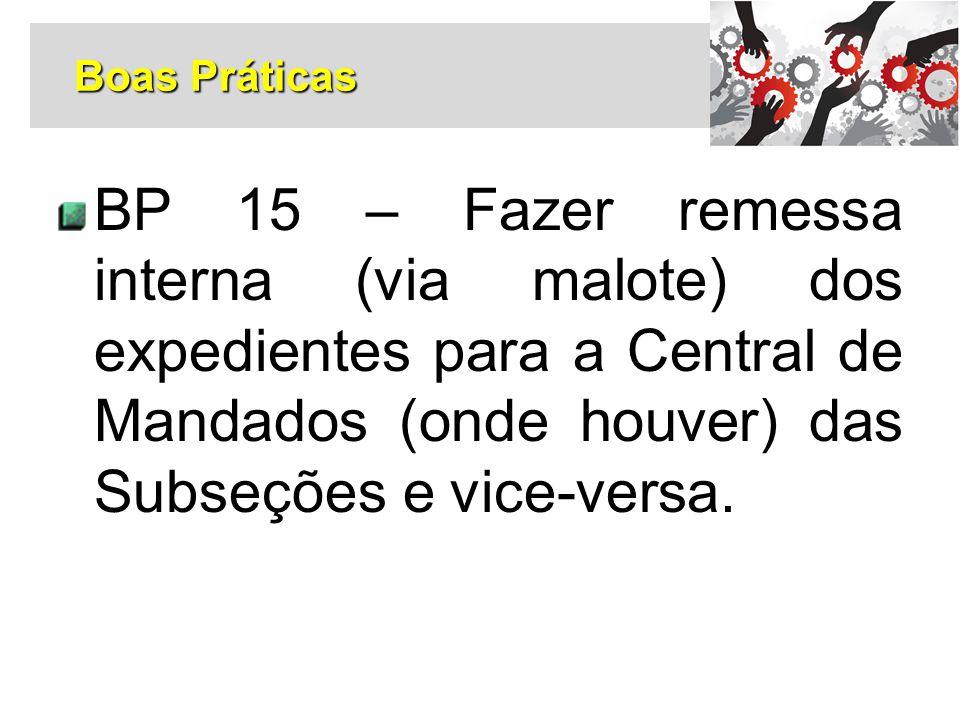 BP 15 – Fazer remessa interna (via malote) dos expedientes para a Central de Mandados (onde houver) das Subseções e vice-versa. Boas Práticas