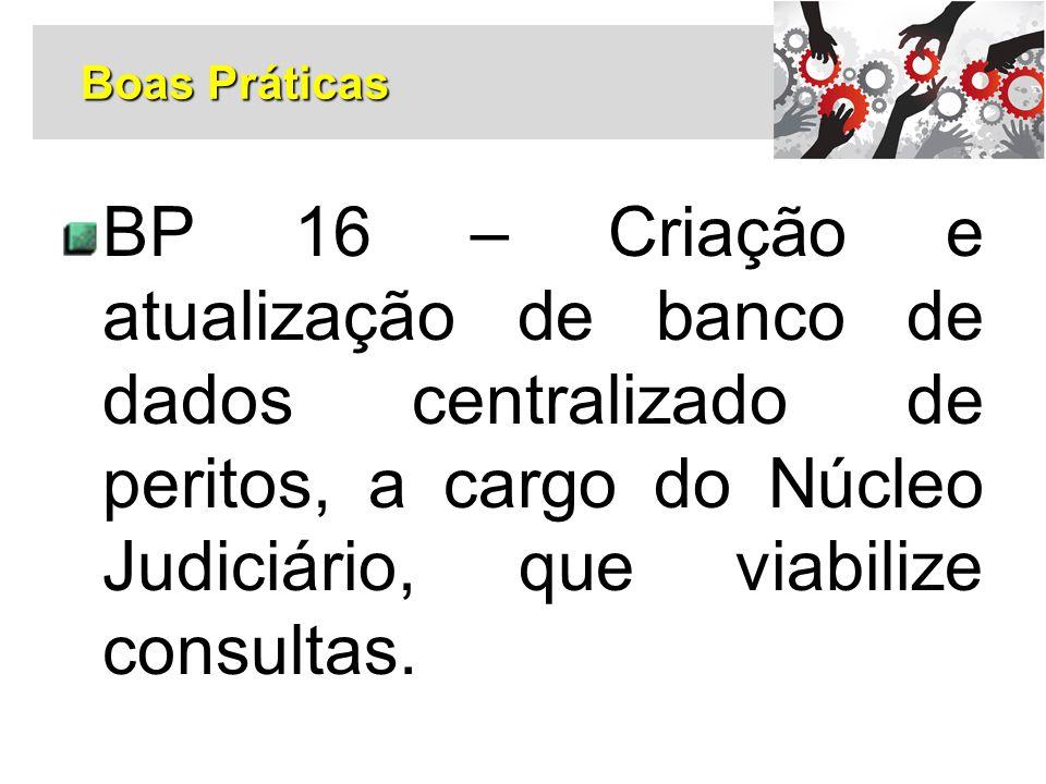 BP 16 – Criação e atualização de banco de dados centralizado de peritos, a cargo do Núcleo Judiciário, que viabilize consultas. Boas Práticas