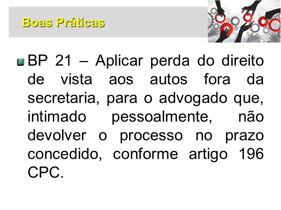 BP 21 – Aplicar perda do direito de vista aos autos fora da secretaria, para o advogado que, intimado pessoalmente, não devolver o processo no prazo c