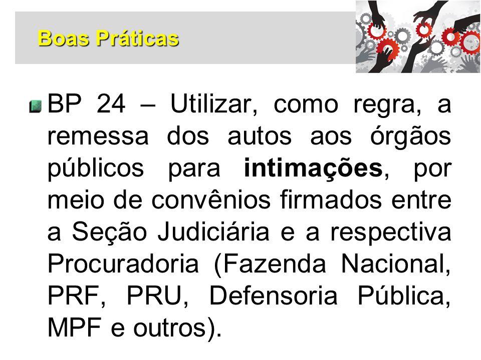 BP 24 – Utilizar, como regra, a remessa dos autos aos órgãos públicos para intimações, por meio de convênios firmados entre a Seção Judiciária e a res
