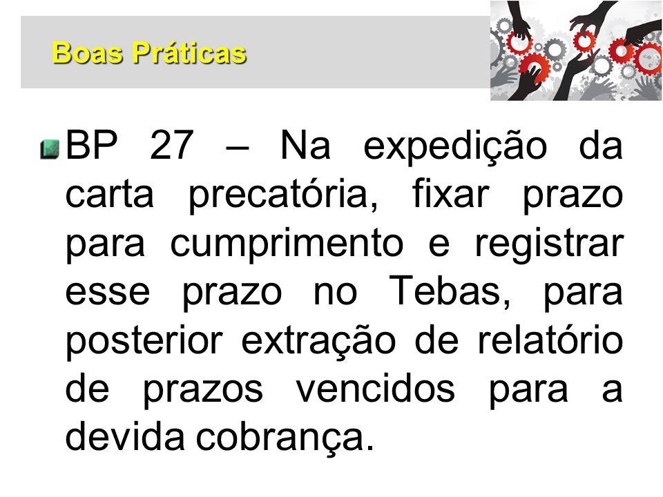 BP 27 – Na expedição da carta precatória, fixar prazo para cumprimento e registrar esse prazo no Tebas, para posterior extração de relatório de prazos