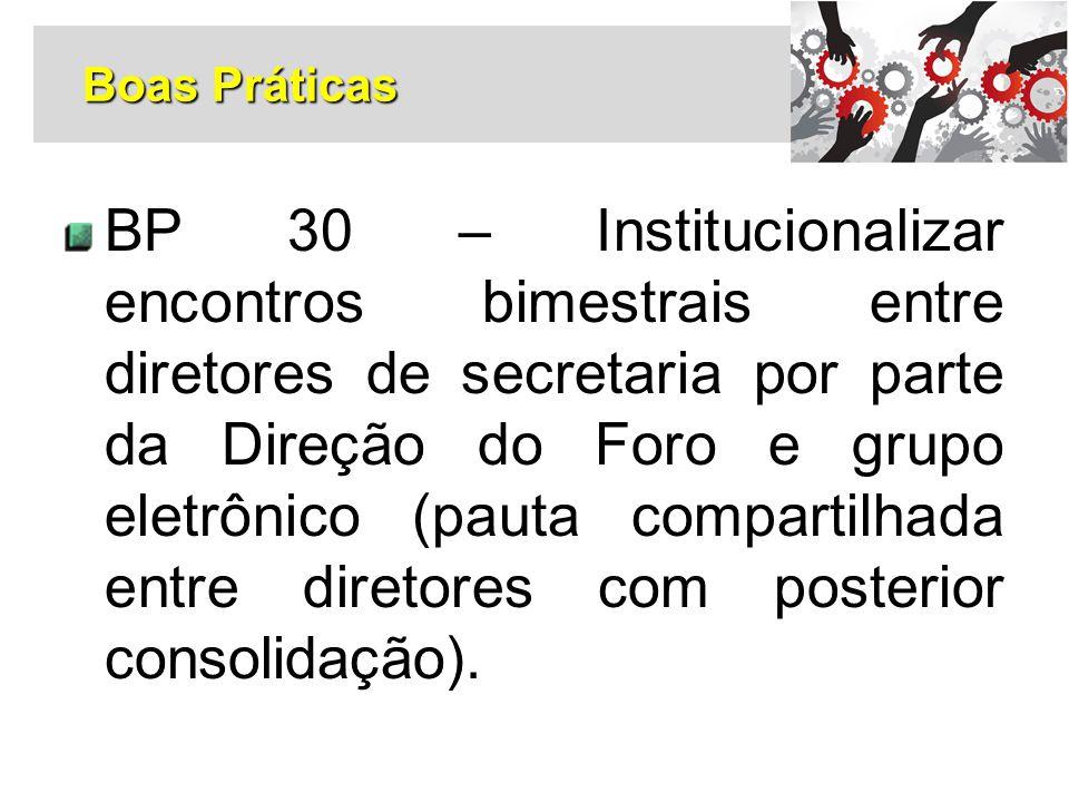 BP 30 – Institucionalizar encontros bimestrais entre diretores de secretaria por parte da Direção do Foro e grupo eletrônico (pauta compartilhada entr