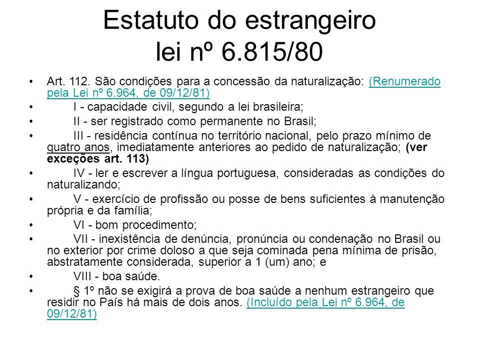 Estatuto do estrangeiro lei nº 6.815/80 Art.112.