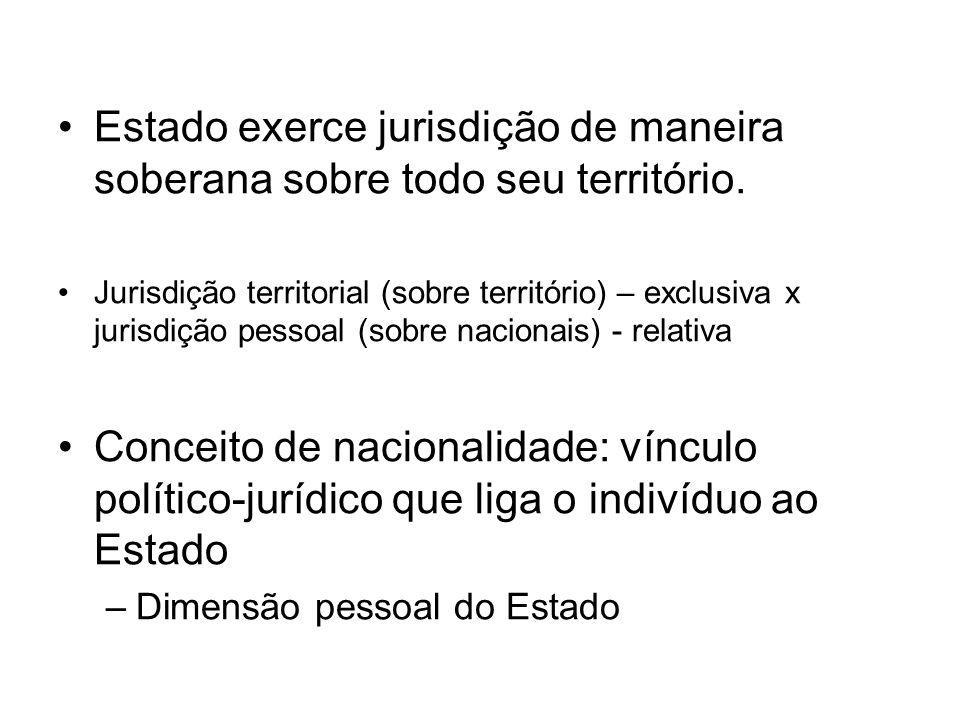 Estado exerce jurisdição de maneira soberana sobre todo seu território.