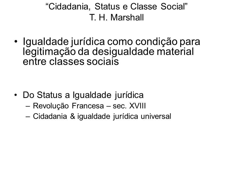 Cidadania, Status e Classe Social T.H.