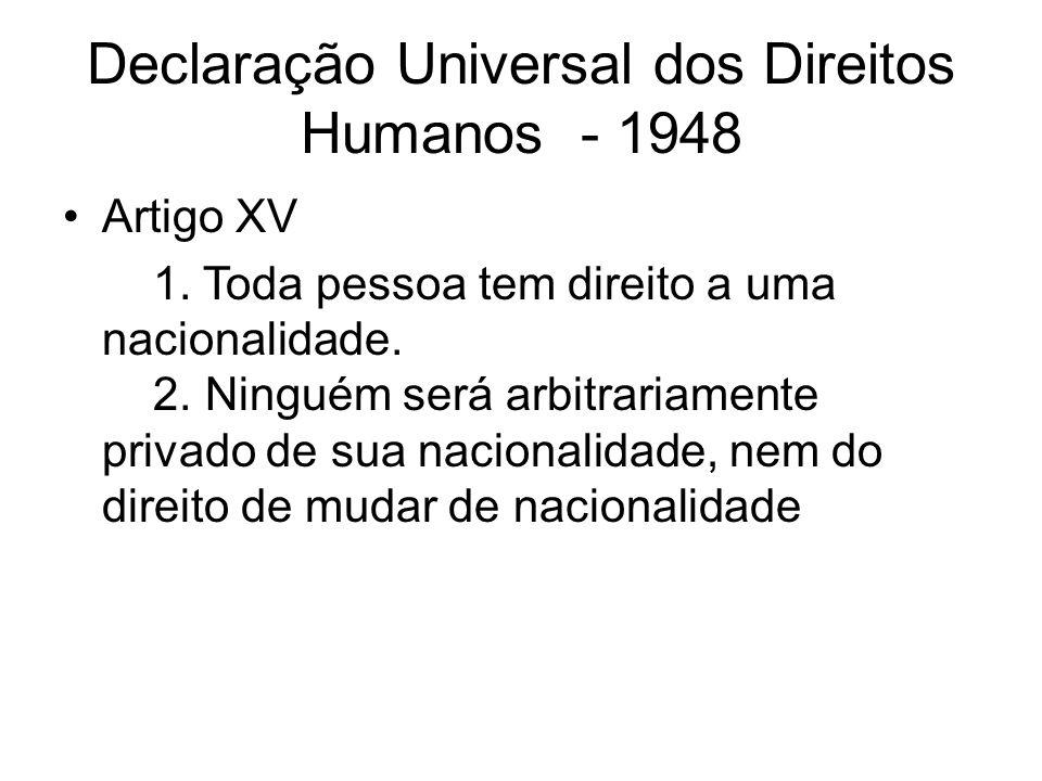 Declaração Universal dos Direitos Humanos - 1948 Artigo XV 1.