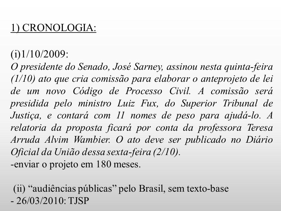 1) CRONOLOGIA: (i)1/10/2009: O presidente do Senado, José Sarney, assinou nesta quinta-feira (1/10) ato que cria comissão para elaborar o anteprojeto de lei de um novo Código de Processo Civil.