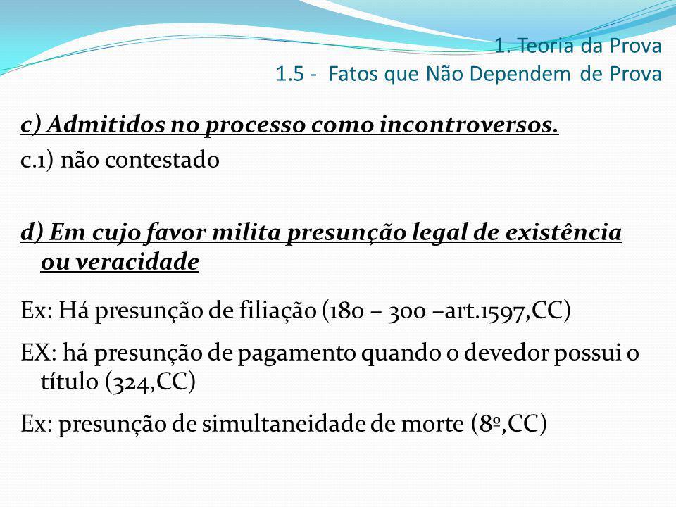 c) Admitidos no processo como incontroversos. c.1) não contestado d) Em cujo favor milita presunção legal de existência ou veracidade Ex: Há presunção