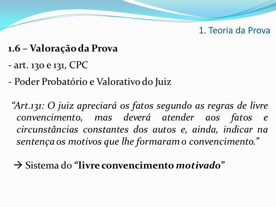 """1.6 – Valoração da Prova - art. 130 e 131, CPC - Poder Probatório e Valorativo do Juiz """"Art.131: O juiz apreciará os fatos segundo as regras de livre"""