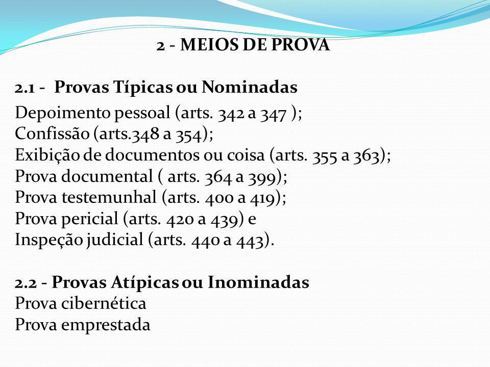 2 - MEIOS DE PROVA 2.1 - Provas Típicas ou Nominadas Depoimento pessoal (arts. 342 a 347 ); Confissão (arts.348 a 354); Exibição de documentos ou cois