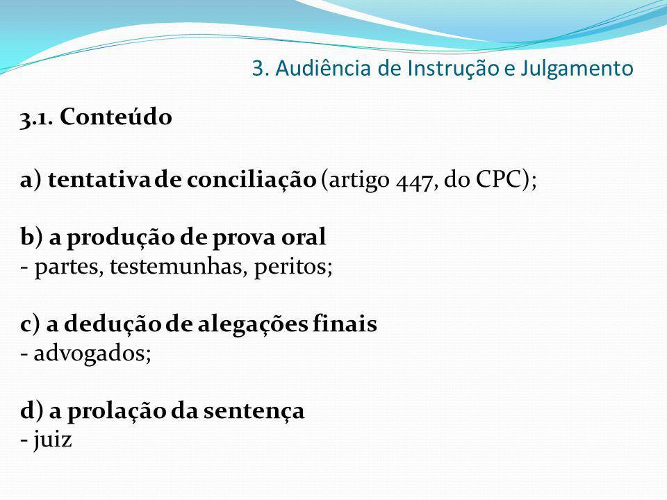 3. Audiência de Instrução e Julgamento 3.1. Conteúdo a) tentativa de conciliação (artigo 447, do CPC); b) a produção de prova oral - partes, testemunh