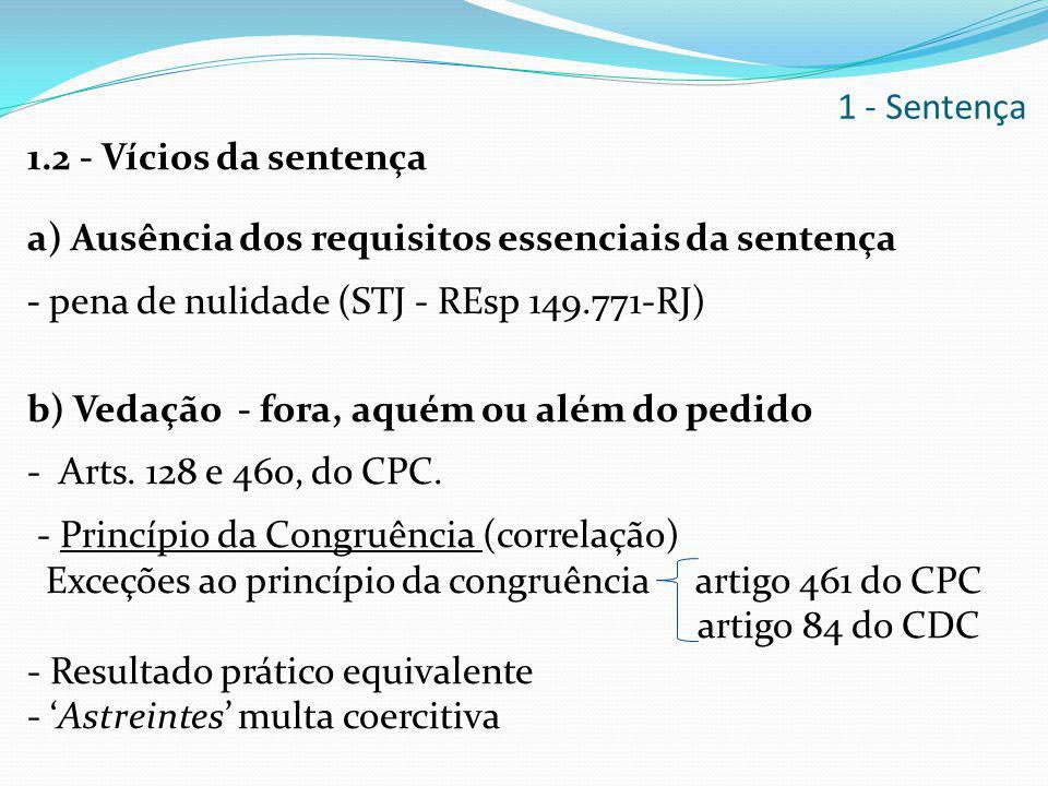 1.2 - Vícios da sentença a) Ausência dos requisitos essenciais da sentença - pena de nulidade (STJ - REsp 149.771-RJ) b) Vedação - fora, aquém ou além