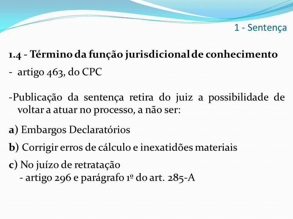 1.4 - Término da função jurisdicional de conhecimento - artigo 463, do CPC -Publicação da sentença retira do juiz a possibilidade de voltar a atuar no