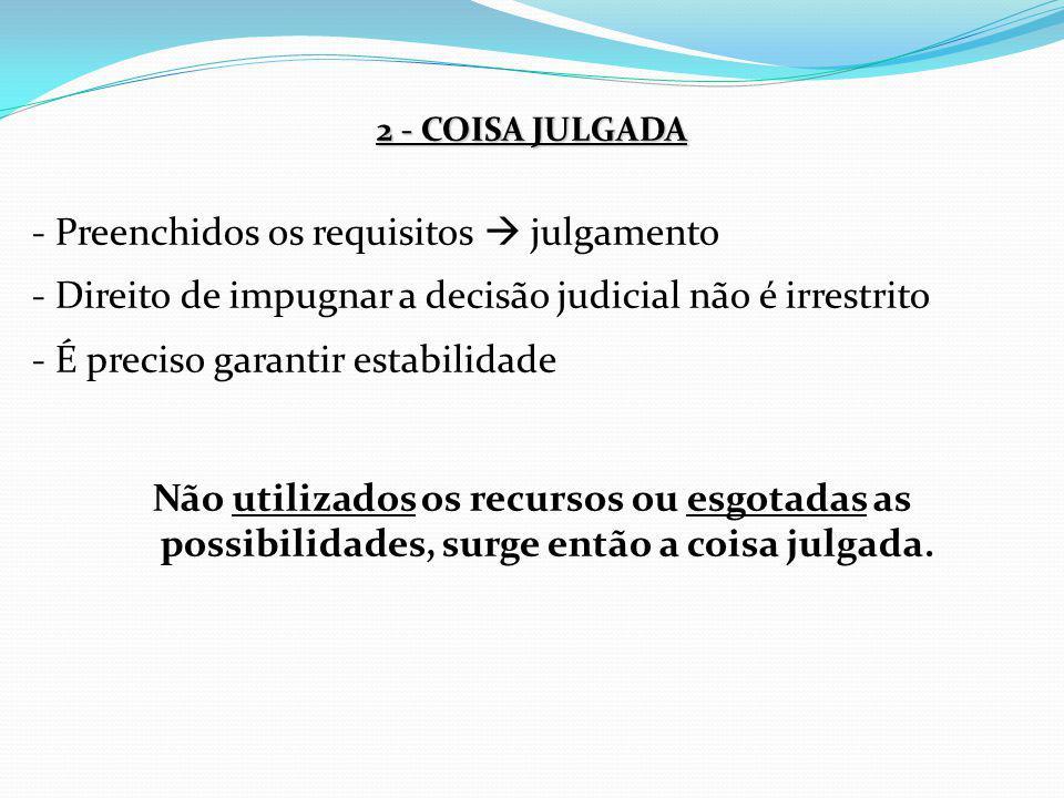 2 - COISA JULGADA - Preenchidos os requisitos  julgamento - Direito de impugnar a decisão judicial não é irrestrito - É preciso garantir estabilidade