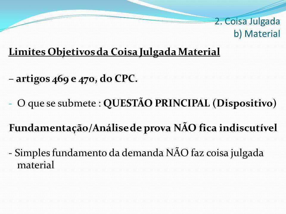 Limites Objetivos da Coisa Julgada Material – artigos 469 e 470, do CPC. - O que se submete : QUESTÃO PRINCIPAL (Dispositivo) Fundamentação/Análise de