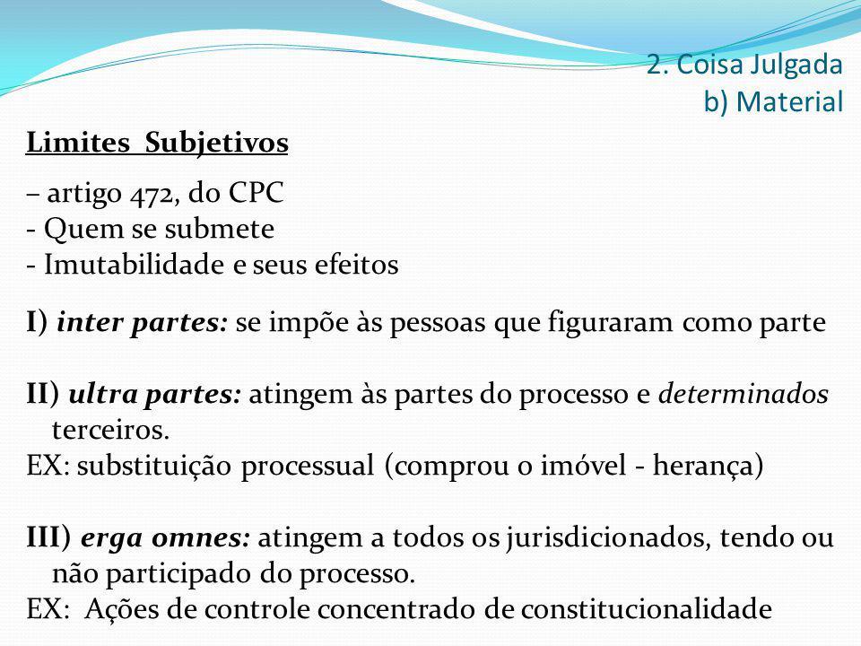 Limites Subjetivos – artigo 472, do CPC - Quem se submete - Imutabilidade e seus efeitos I) inter partes: se impõe às pessoas que figuraram como parte