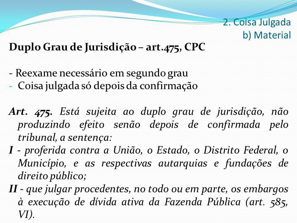 Duplo Grau de Jurisdição – art.475, CPC - Reexame necessário em segundo grau - Coisa julgada só depois da confirmação Art. 475. Está sujeita ao duplo